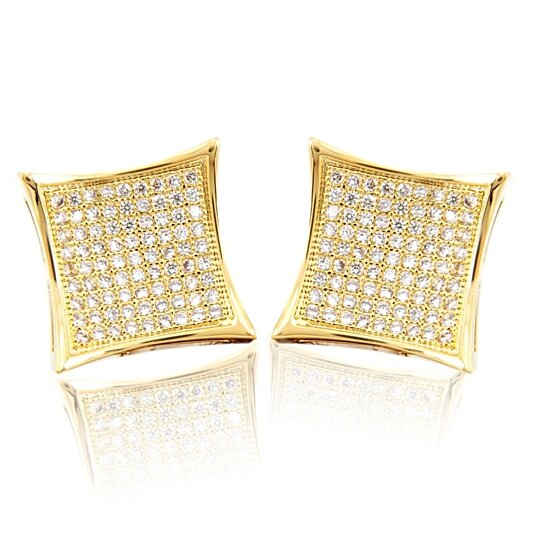 Mens Block Square Flat Screen 14k Gold Yellow Over Earring Stud Pave Set By Jewelryhub On Opensky