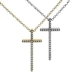 18 IN Small Cross Necklace in Stainless Steel