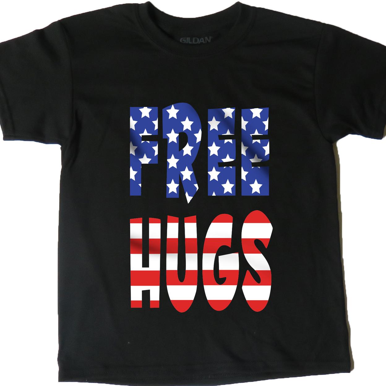 AFONiE USA Flag Free Hugs Kids T-Shirt - X-Small, Black 5955277f5ec74851eb4b85ee