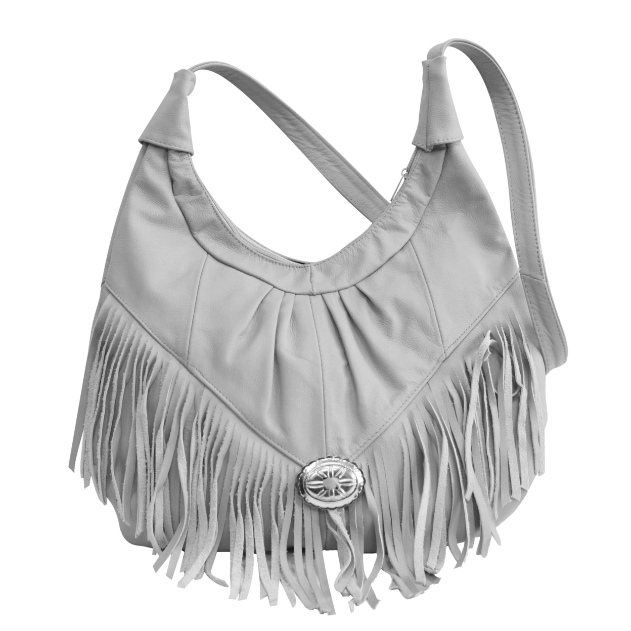 Fringed Leather Bag - Soft Geniune Leather Grey Color - Grey 55dc9df7a2771ca3658b5a8e