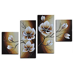 White Flower Wall Decor Oil Paintings On Canvas Various Abstract Designs 5 Panels