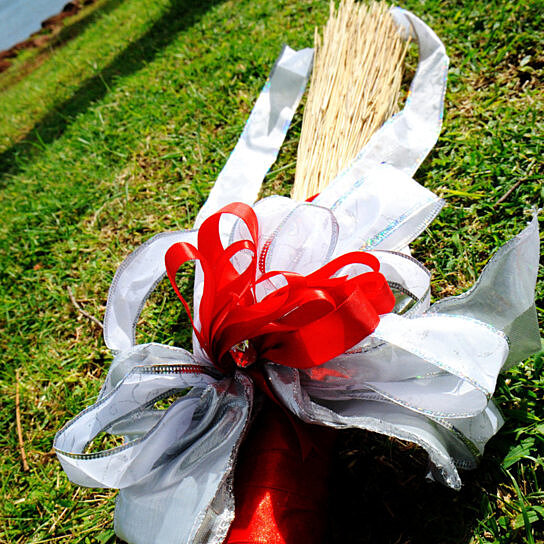 Wedding Broom Ideas: Buy Red & White Wedding Broom Decorated With Satin Bows