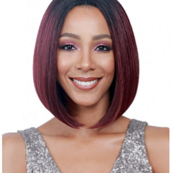 Deifor Dark Roots Highlights Bob Wigs Short Straight Ombre Synthetic Hair Wigs for Women (Black and Wine)
