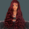 Fashion Red Long Wavy Heat Resistant Lace Front Wig High Temperature Wig