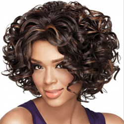 Women 's Fashionable Short Curly Hair Wigs Brown Mix Black Wis For Women