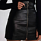 Autumn Winter Above Knee Black PU A Line Skirts Zipper Wine Red High Waist Short Leather Skirt