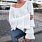 Autumn Winter Women Layered Ruffled Sleeve V NECK Warm Knitted Sweater Loose Top
