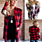 Autumn Winter Women Plaid Print Kimono Cardigans Casual Patchwork Sweater Women Cardigans Coat