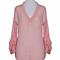 Casual Loose Pink V neck Long Sleeve Summer Chiffon Shirt Blouse