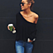 Casual V Neck  White Knitted Loose Long Sleeve Sweater