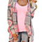 Casual Women Long Sleeve Asymmetrical Pink Long Cardigan