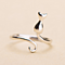 Chic Fashion Cat Silver Adjustable Rings