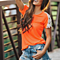 Crochet Lace T-Shirt Short Sleeve T Shirts Solid Loose Tees