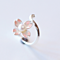 Delicate Pink Cherry Blossom Adjustable Rings Pearl Silver Ring