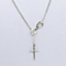 Elegant Women's  Silver Cross Lariat Necklace