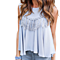 Fashion Loose A Line Chiffon Sleeveless Tank Top Shirts Blouse With Tassel
