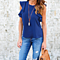 Fashion Women's Chiffon Sleeveless Ruffel Chic Shirts Blouse In 3 Colors