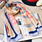 High Quality Brand Floral Print  Blue Shawls And Scarves Wraps  Twill Silk Scarf