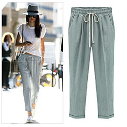 High Waist Cotton Elastic Waist Casual Women Linen Pants Loose Harem Pants Ankle Length Trousers