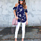 Off Shoulder Floral Printed Chiffon Blouse  Loose Ruffle Shirts