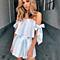 Off Shoulder Sexy Backless Beach Bow Stripe Elegant Jumpsuit Romper