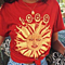 Punk Style Summer Totem Print T-shirt Red Short Sleeve Round-neck Casual Shirt