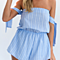 Sexy Blue Striped Off Shoulder Slash Neck Short Playsuits Women Rompers Jumpsuits