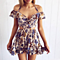 Sexy Halter Off Shoulder Floral Print Women Summer Dress