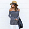 Sexy Striped Blouses Off Shoulder Long Sleeve Shirt Tops