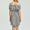 Sexy Vertical Striped Off Shoulder Dress Bustier Long Sleeve With Belt