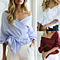 Sexy Women Crossover V-Neck Off Shoulder Lantern Sleeve Belted Solid Blouse
