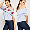 Sexy Women's Off Shoulder Rose Flower Embroidered Stripes Blouse Tops