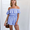 Sexy Women's Ruffle Off Shoulder Stripes In Blue & White Romper Jumpsuits