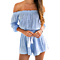 Sky Blue Women Off Shoulder Playsuit Party Jumpsuit Romper In Plus Size