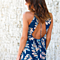 Summer Beach Leaves Print V Neck Strap Maxi Long Dress