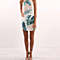 Summer Beach Women's Halter Leaf Print Mini Dress