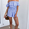 Summer Beach Women's Stripes Rufel Off Shoulder Rompers Jumpsuits