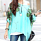 Summer Bohemian Mint Floral Print  Shirts Blouse Women's Top