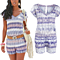 Summer Boho Feather Print Playsuit V Neck Beach Jumpsuits Romper
