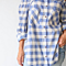 Summer Casual Loose Plaid In Blue & White Shirt Blouse