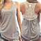 Summer Lace Crochet Back Striped Vest Casual Sleeveless Tank Top