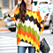 Summer Women's Color Blocking Stripes Chiffon Shirts Blouse