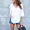 Summer Women's Cross V-neck Backless Chiffon Loose Shirts Blouse