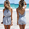 Summer Women's Fresh Stripes Backless Jumpsuit Rompers