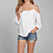 Summer Women's White Lace Off Shoulder Chiffon Top Shirt Blouse
