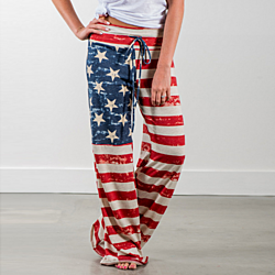 Women American Flag Drawstring Wide Leg Pants Leggings Long Loose Culottes Trousers