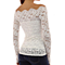 Women Blouses Long Sleeve White Lace Blouse Off Shoulder Chiffon Shirts  Slash Neck Tops