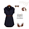 Women Casual Lapel Single Breasted Jeans Women Dress with Belt