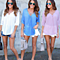 Women's Casual Chiffon  V Neck Cross Solid Blouses