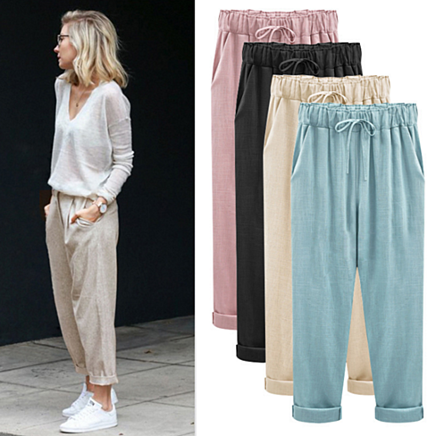 Women's Cotton Linen Elastic Waist Trousers Large Size Harem Pants